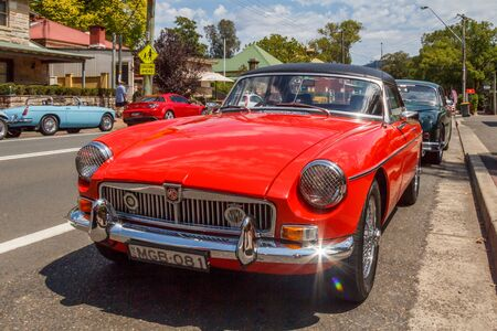 Kangaroo Valley, Australia - 7th February 2018: Classic red MGB roadster sports car. Thq car was produced between 1963 and 1980. Editorial