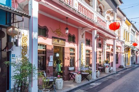 Phuket Town, Thailand - 6th March 2018: Sino Portuguese architecture,Soi Rommanee. The old town is famous for its architecture.