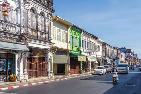 Phuket Town, Thailand - 6th March 2018: Sino Portuguese architecture, Yaowarat Road. The old town is famous for its architecture.