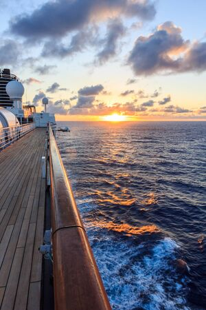 Sunset aboard a cruise ship, South Pacific.