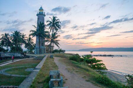 Galle fort lighthouse at sunrise, Sri Lanka
