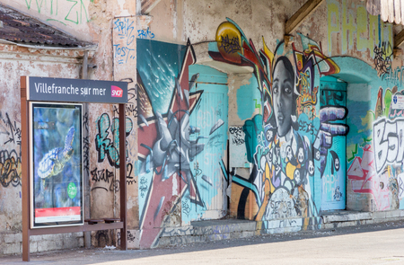 Villefranche, France - September 9th 2015 : Grafitti on VIllefranche sur Mer station. The station is on the main line to Nice and Monaco.
