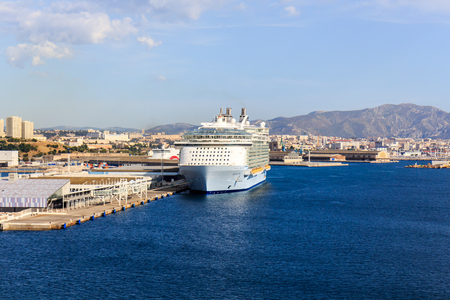 Marseille, France - September 8th 2015: The Royal Caribbean cruise ship Allure of the Seas moored in the harbour. The city is a popular destination for cruise ships. Editorial