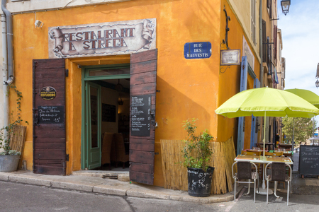 Marseille, France - September 8th 2015 : A bar restaurant in the old Port area. The area is popular with tourists Editöryel