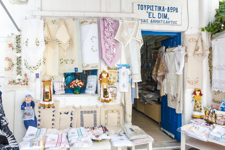 Mykonos, Greece - September 15th 2015: Souvenir shop in Chora. This is the main town on the island. 報道画像