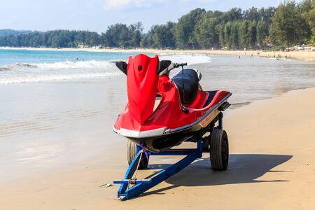 Jetski on trailer on Bang Tao beach, Phuket, Thailand 免版税图像
