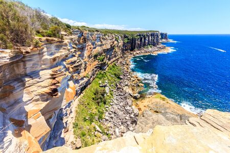 Rugged coastline, North Point, Manly, Sydney Harbour, New South Wales, NSW, Australia Stock Photo