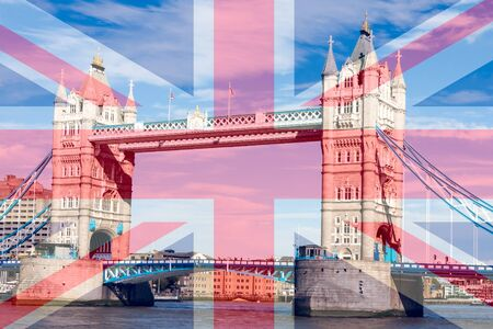 Tower Bridge over the River Thames, London, England on a sunny day with the Union Jack flag superimposed