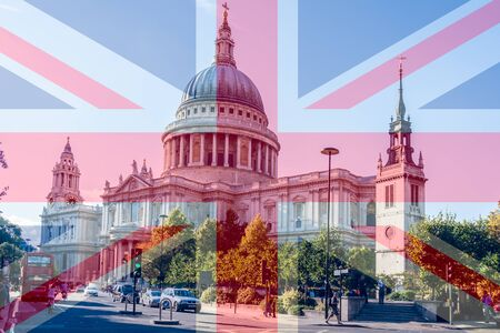 St Pauls Cathedral in London England with the Union Jack superimposed over 写真素材