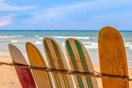 Surfboards for hire on Surin Beach, Phuket, Thailand. Stock Photo