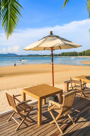 Beach furniture in Bang Tao Beach Phuket, Thailand 免版税图像