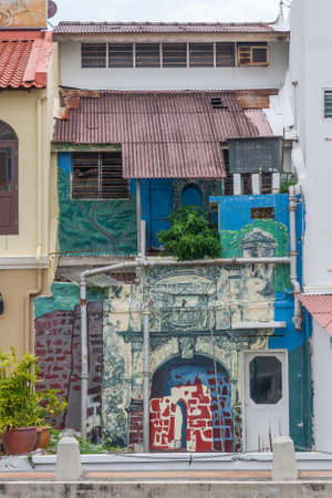Malacca, Malaysia - 8th June 2010: Painted house, Malacca River. The riverside has been cleaned up and is now a popular tourist attraction. Redakční