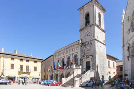 The Piazza san Benedetto in Norcia, Umbria, Italy. The town has been badly hit by earthquakes in 2016, the latest of which on October 30th has destroyed
