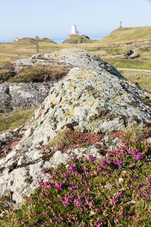 Volcanic rock and relics on Llanddwyn Island, Anglesey, Wales