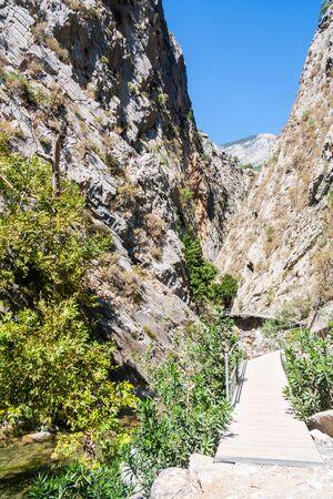 Walkway through Sapadere Canyon, Alanya, Turkey 版權商用圖片