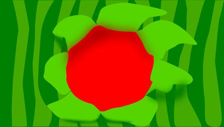 Watermeloenontwerp, strepen met verschillende schaduwen van groen en schileffect die bloem vormen, in grenzeloze illustratie. Stock Illustratie