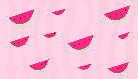 Watermelon repetitive design,  stripes with different shades of pink, borderless illustration. Vectores