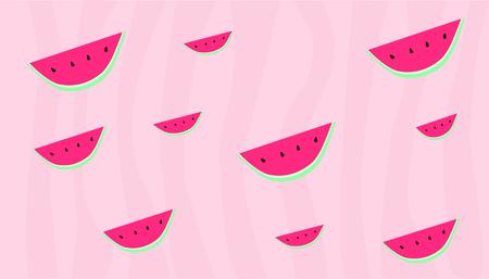 Watermeloen repetitief ontwerp, strepen met verschillende tinten van roze, randloze illustratie.