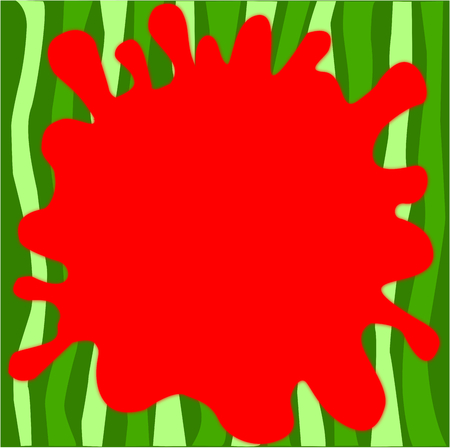 Watermelon design,  stripes with different shades of green, with splat of red borderless illustration.