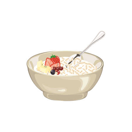 Healthy breakfast with realistic fruits, bowl of flakes and glass of milk vector illustration Çizim