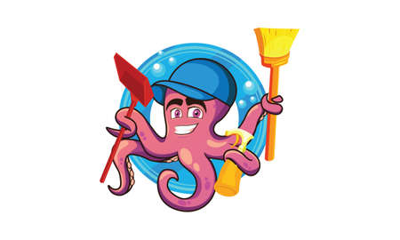 illustration of a cleaning octopus, holding a cleaning tool, wearing a blue hat