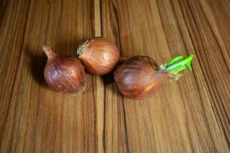 cebollitas: cebollas en la madera