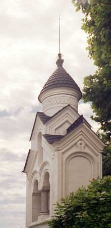Orthodox structure,chapel.Religious architecture of Russia.Livadia Palace,surroundings.Chapel near the Romanovs house. Stock Photo