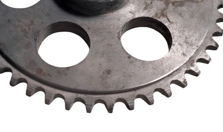 Mechanical subjects made from metal.cog-wheel against white bakground.Spare parts for repair. Stock Photo - 339550