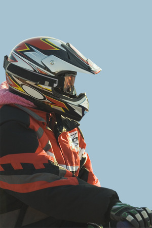 Snowmobile racer isolated Stock Photo