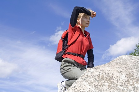 The girl peers into distance. Stock Photo