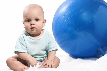 baby and blue ball