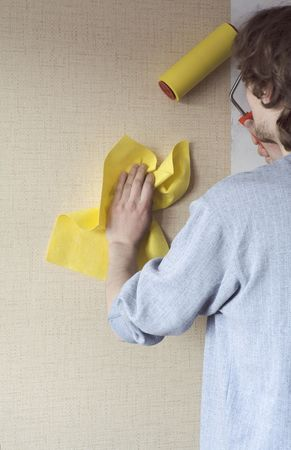 building repairs, decoration with wallpaper.