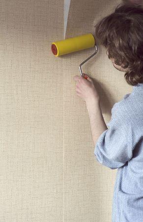 repairs: building repairs, decoration with wallpaper.