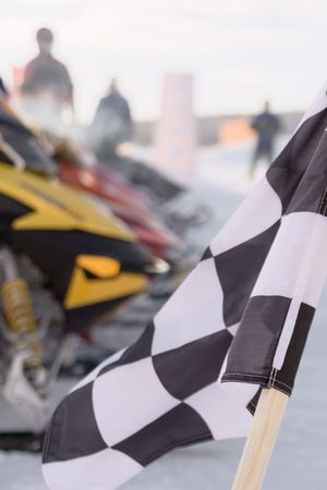 overtake: A close up of the sports chequered flag Stock Photo