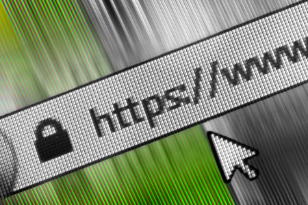 web address: Closeup of Http Address in Web Browser in Shades of green