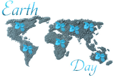 barrenness: Earth Day. Concept ecology. World map, globe from the soil with green plants around the world isolated on white background in blue tones Stock Photo