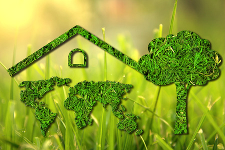 Concept ecology. Green house. World map component of the walls of the house with the tree isolated on natural background Stock Photo