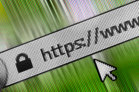 Closeup of Http Address in Web Browser in Shades of green