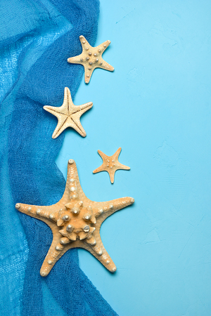 Marine blue background with seashells and starfish in fishing nets with place for your text