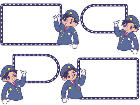 Railwayman with a pointing guide frame_ government cap 写真素材 - 154393686