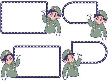 Railwayman with pointing guide frame_Degor cap 写真素材 - 154393689