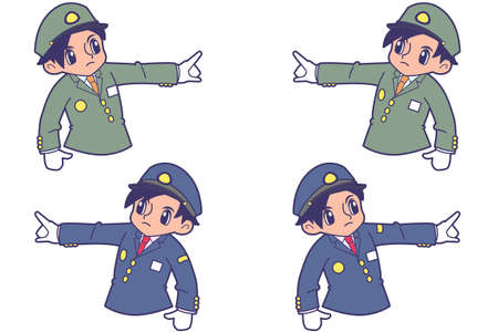 Trainman bust-up to confirm fingering  イラスト・ベクター素材
