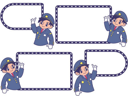 Railwayman with a pointing guide frame_ government cap