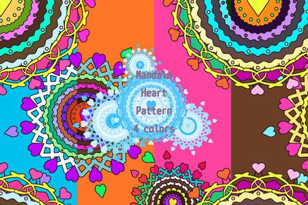 Heart Mandala Pattern Set 01  イラスト・ベクター素材