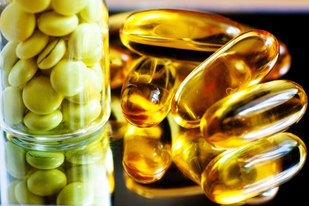 Fish oil and valerian, which are used in medicine to promote health photo