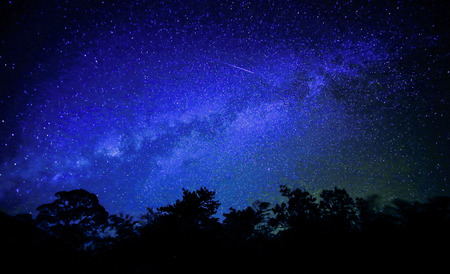 Wide field long exposure photo of the Milky Way