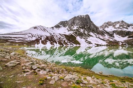frozen lake: Frozen lake with mountain