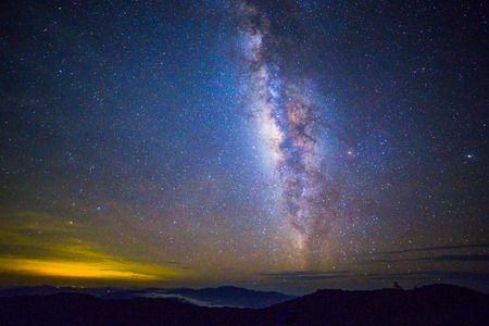 Wide field long exposure photo of the Milky Way.