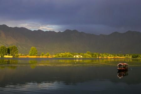 Lake with sunset photo