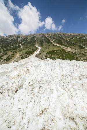 highlands region: Snow mountain with green field